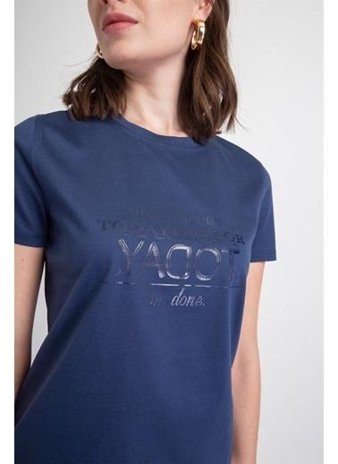 Rue Sıfır Yaka Önü Baskılı T-Shirt Lacivert